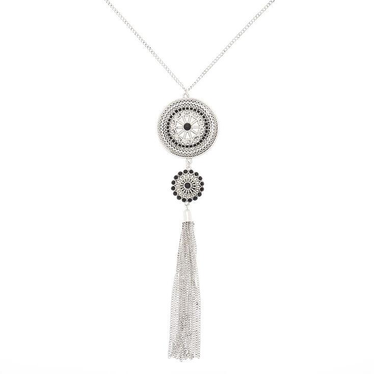 Silver Medallion Long Pendant Necklace,