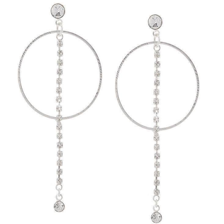 Silver Orbit Drop Earrings,
