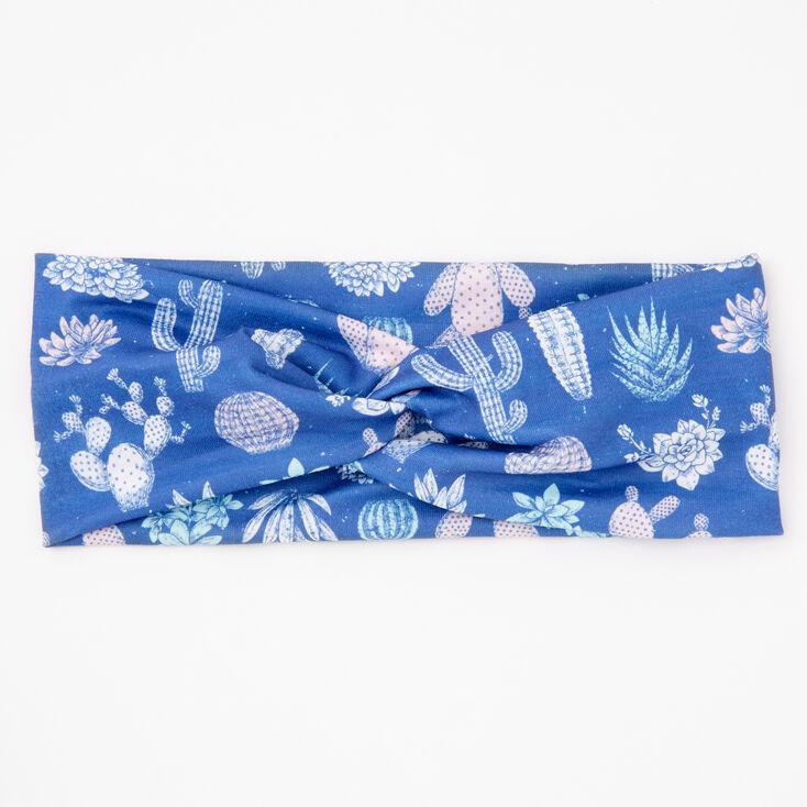 Cactus Twist Headwrap - Blue,