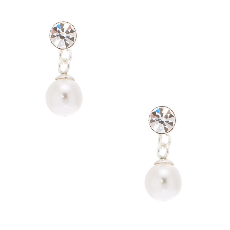 Sterling Silver 5MM Pearl Drop Earrings,