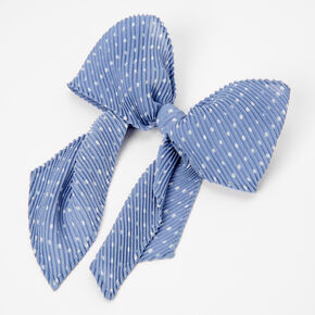Polka Dot Pleated Hair Bow Clip - Light Blue,
