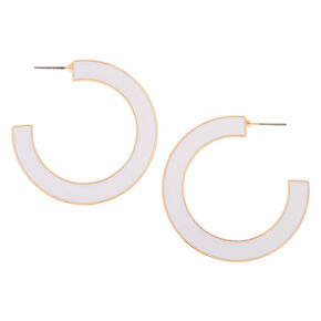 Gold 45MM Enamel Hoop Earrings - White,