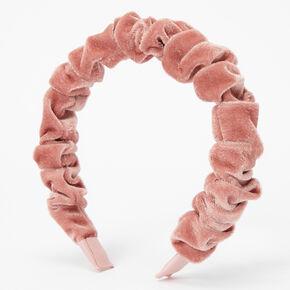 Ruffled Velvet Headband - Blush Pink,