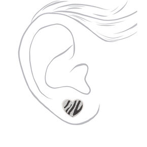 Silver Glitter Zebra Heart Stud Earrings,