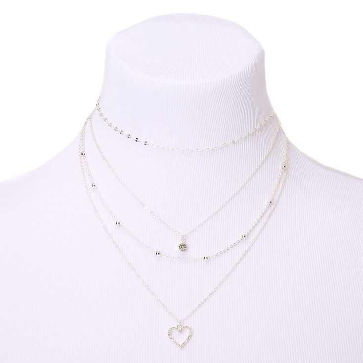 Silver Heart Multi Strand Necklace,