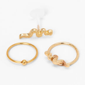 Gold 16G Mixed Snake Cartilage Earrings - 3 Pack,