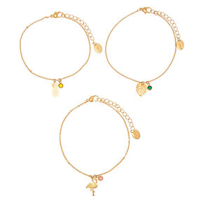 Gold Tropical Gem Anklet - 3 Pack,