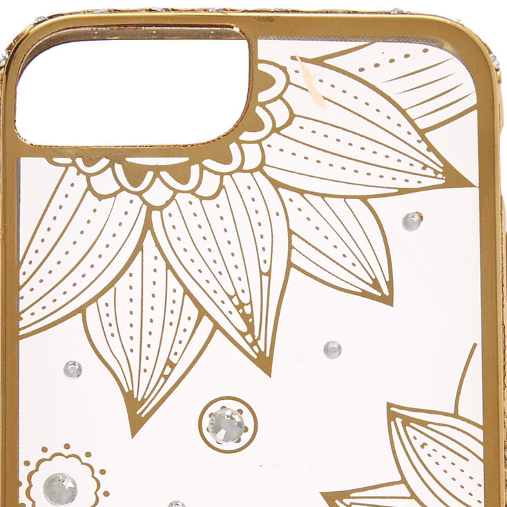 Clear Gold Lotus Flower Phone Case - Fits iPhone 6/7/8/SE,
