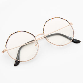 Gold Tortoiseshell Octagon Clear Lens Frames,