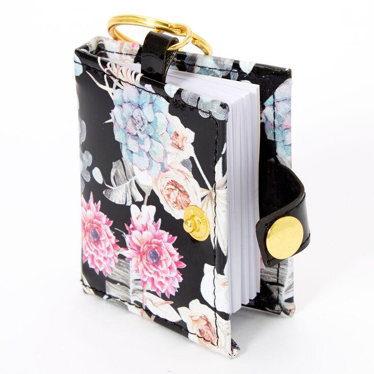 Floral Mini Diary Keychain - Black,