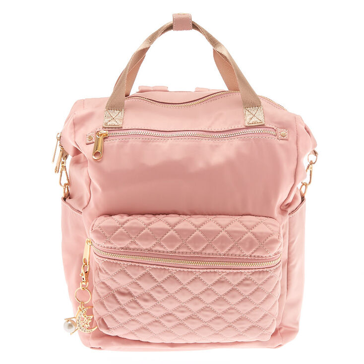 Quilted Double Handle Medium Backpack - Pink,