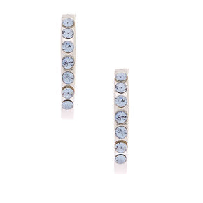 Sterling Silver Crystal Half Hoop Earrings - Blue,