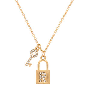 Gold Lock & Key Initial Pendant Necklace - R,