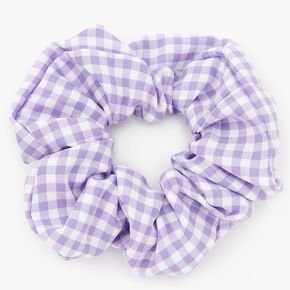 Medium Gingham Stripe Hair Scrunchie - Lilac,