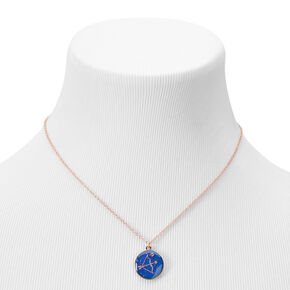 Gold Round Mood Zodiac Pendant Necklace - Sagittarius,
