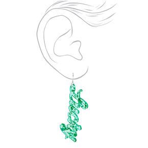 3'' Glitter Lucky Drop Earrings - Green,