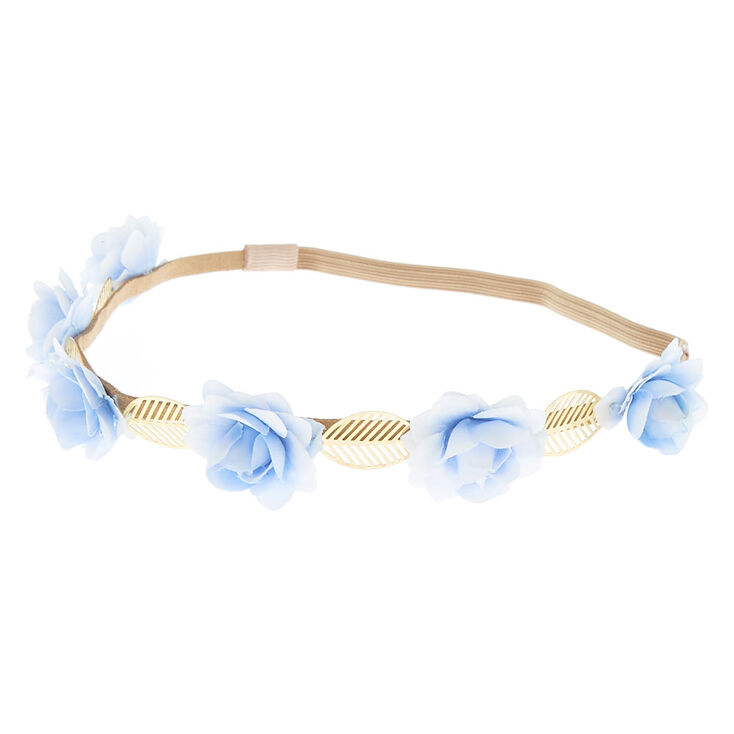 Rose Flower Crown Headwrap - Sky Blue,