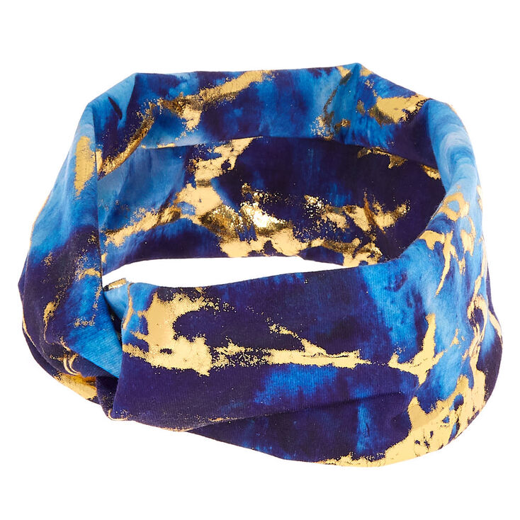 Metallic Marble Wide Jersey  Headwrap - Blue,