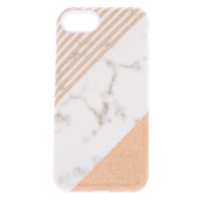 Striped Glitter Marble Protective Phone Case - Fits iPhone 6/7/8,