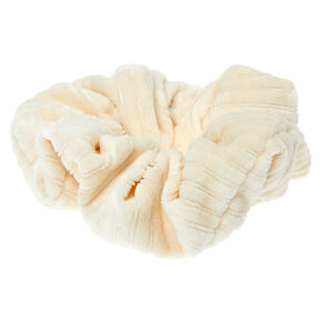 Medium Ribbed Velvet Hair Scrunchie - Ivory,
