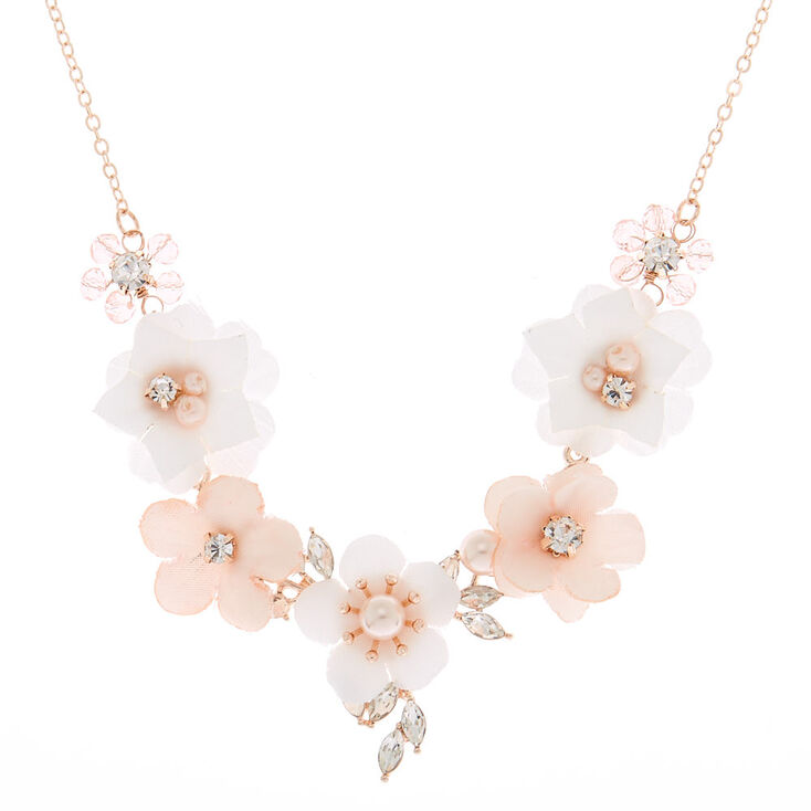 Rose Gold Rhinestone & Pearl Floral Statement Necklace - Blush,