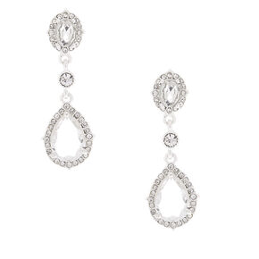 "Silver Rhinestone 2"" Teardrop Drop Earrings,"
