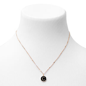 Gold Enamel Initial Pendant Necklace - Black, C,