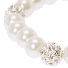 Silver Pearl & Fireball Stretch Bracelet,