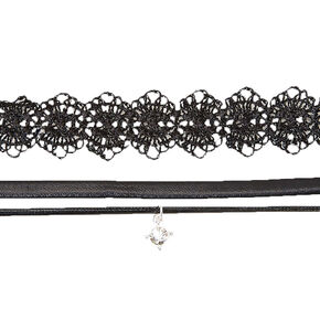 Black Lace & Double Cord Choker Set,