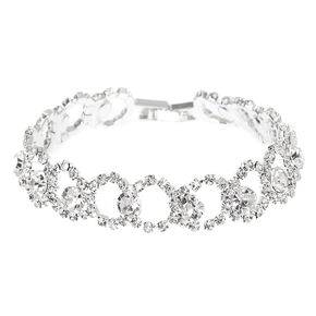 Silver Rhinestone Loop Chain Bracelet,