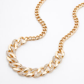 Gold Rhinestone Curb Chain Statement Necklace,