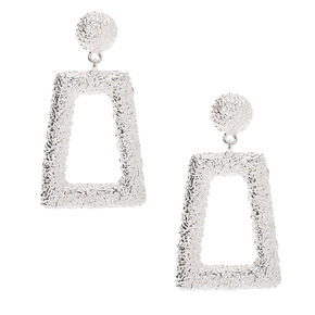 "Silver 2.5"" Textured Drop Earrings,"