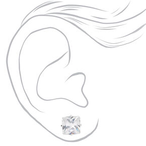 Silver Cubic Zirconia Square Magnetic Stud Earrings - 8MM,