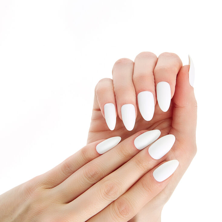 Solid Faux Nail Set  - White, 24 Pack,