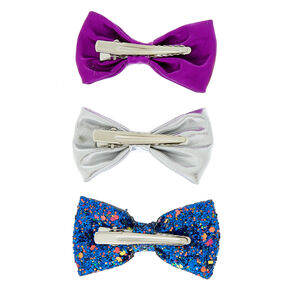 Holographic Glitter Mini Hair Bow Clips - 3 Pack,