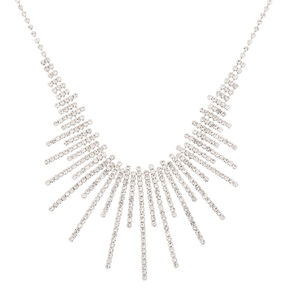 Silver Rhinestone Sunburst Statement Necklace,