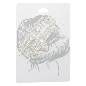 Silver Rhinestone Pearl Open Bobby Pins - 2 Pack,