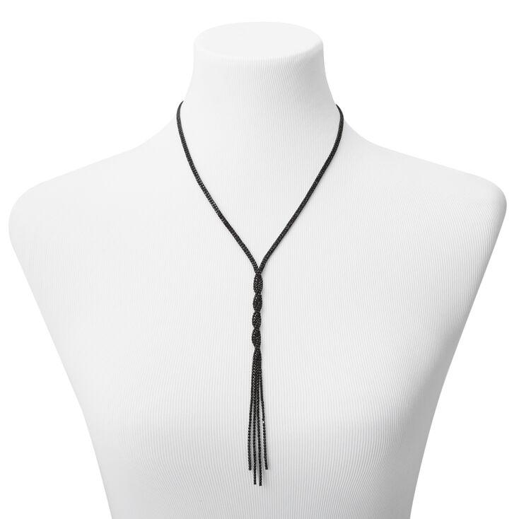 Jet Black Rhinestone Twist Y-Neck Pendant Necklace,
