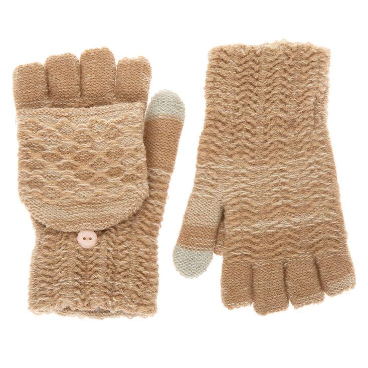 Knit Fingerless Gloves With Mitten Flap - Oatmeal,