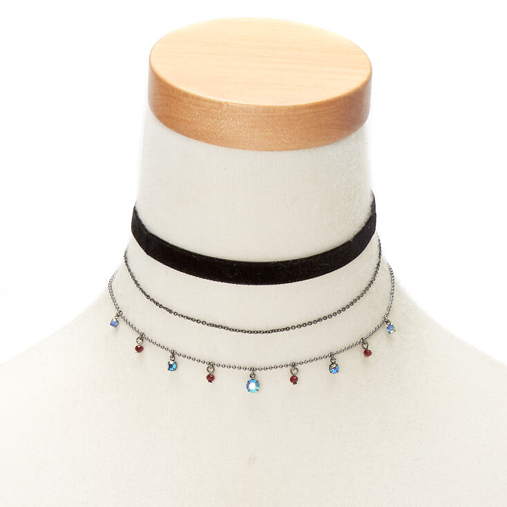 Hematite & Velvet Choker Necklaces - 3 Pack,