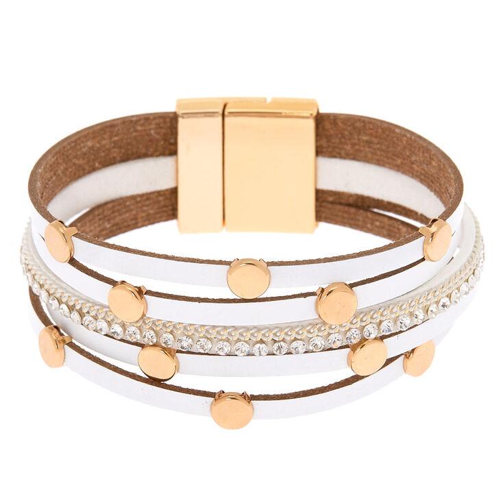 Gold Layered Wrap Bracelet - White,