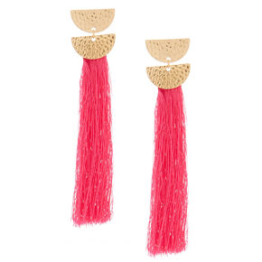 "4"" Tassel Drop Earrings - Pink,"