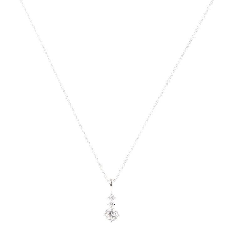 Silver Cubic Zirconia Trio Stone Pendant Necklace,