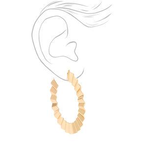 Gold 60MM Crinkle Hoop Earrings,