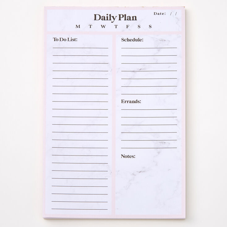 Daily Plan Marble Notepad - Pink,