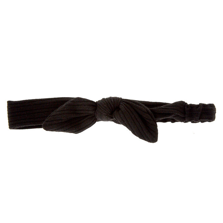 Ribbed Knotted Bow Headwrap - Black,