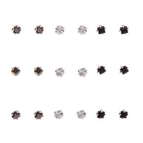 Black & Clear Square Cut Faux Crystal Stud Earrings,