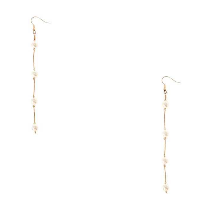 Gold-Tone & Faux Pearl Long Dangle Earrings,