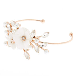 Rose Gold Floral Cuff Bracelet - White,
