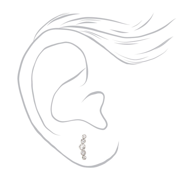 Sterling Silver Crystal Crescent Ear Crawler Earrings,